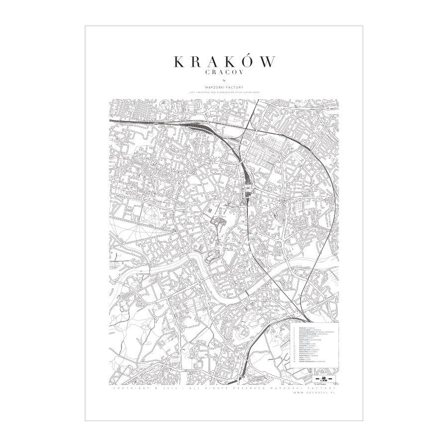 Mapa Poster Plakat Kraków White Mapzorki 723