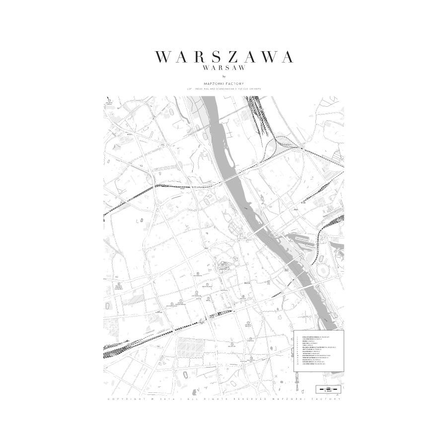 Mapa Poster Plakat Warszawa White Mapzorki 716