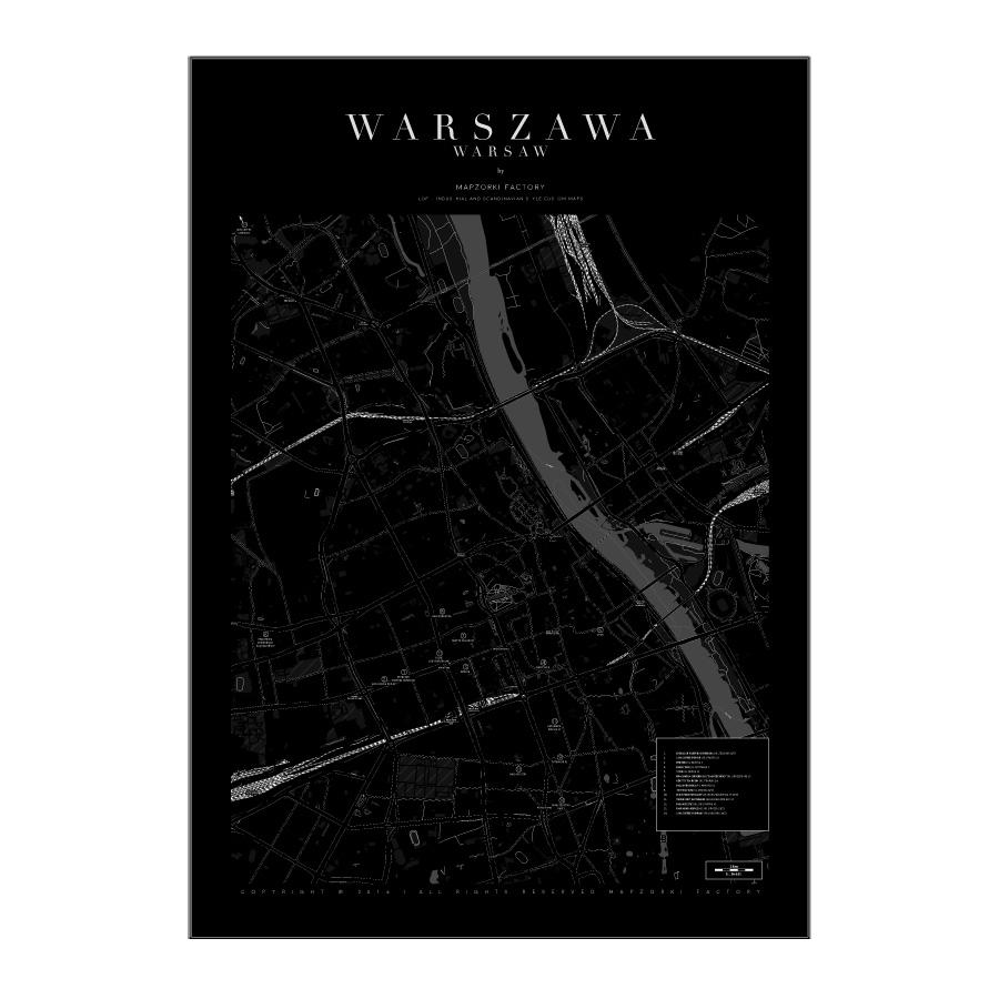 Mapa Poster Plakat Warszawa Black Mapzorki 717