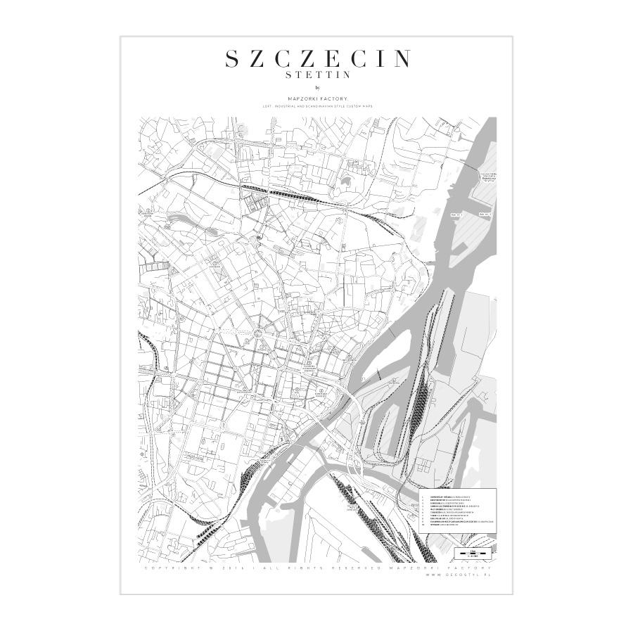 Mapa Poster Plakat Szczecin White Mapzorki 719 Lampy Loft
