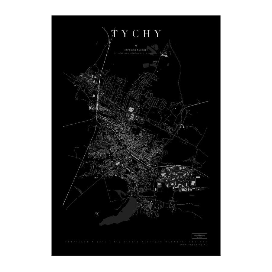 Mapa Poster Plakat Tychy Black Mapzorki 730 Lampy Loft