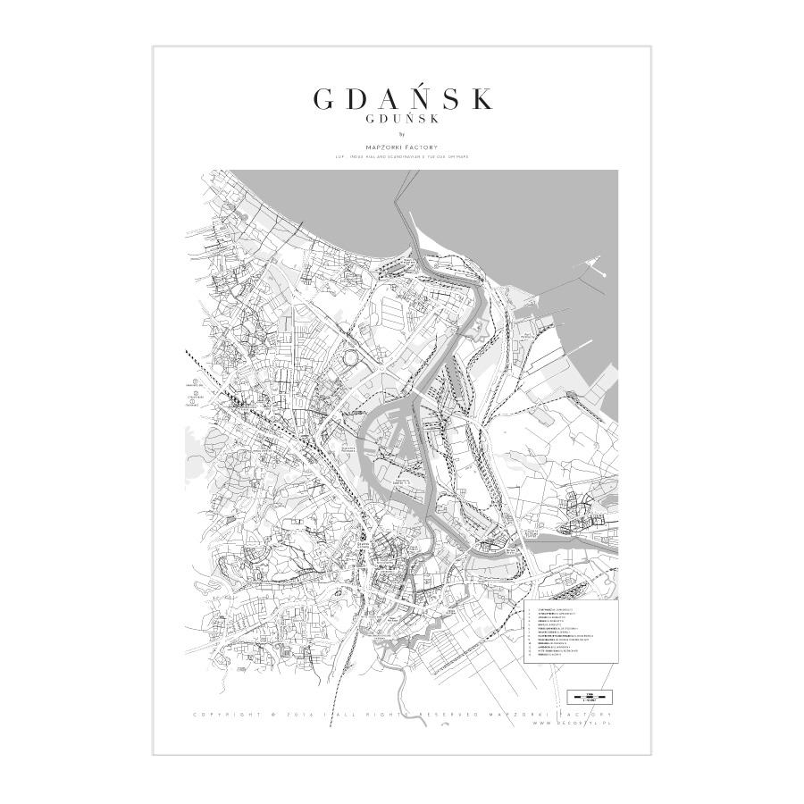Mapa Poster Plakat Gdańsk White Mapzorki 739